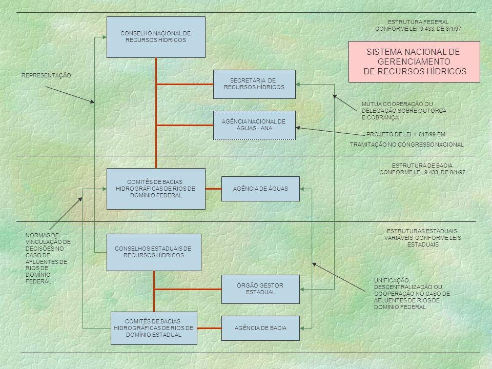 CONSELHO NACIONAL DE RECURSOS HÍDRICOS COMITÊS DE BACIAS HIDROGRÁFICAS DE RIOS DE DOMÍNIO FEDERAL SECRETARIA DE RECURSOS HÍDRICOS CONSELHOS ESTADUAIS