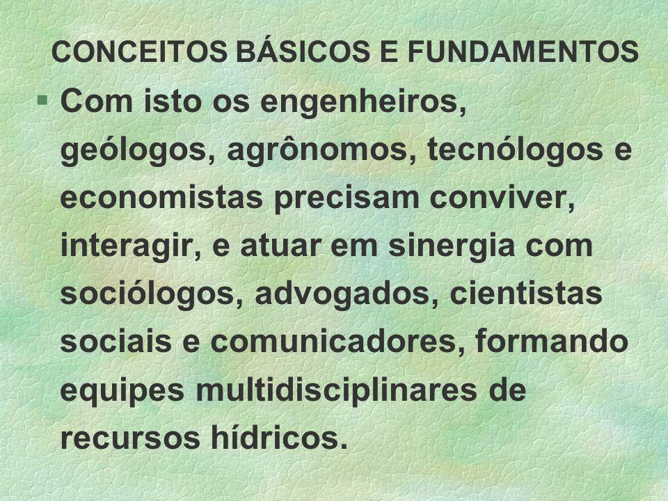 CONCEITOS BÁSICOS E FUNDAMENTOS §Com isto os engenheiros, geólogos, agrônomos, tecnólogos e economistas precisam conviver, interagir, e atuar em siner