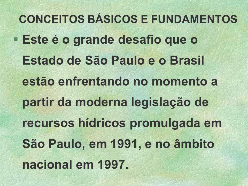 CONCEITOS BÁSICOS E FUNDAMENTOS §Este é o grande desafio que o Estado de São Paulo e o Brasil estão enfrentando no momento a partir da moderna legisla