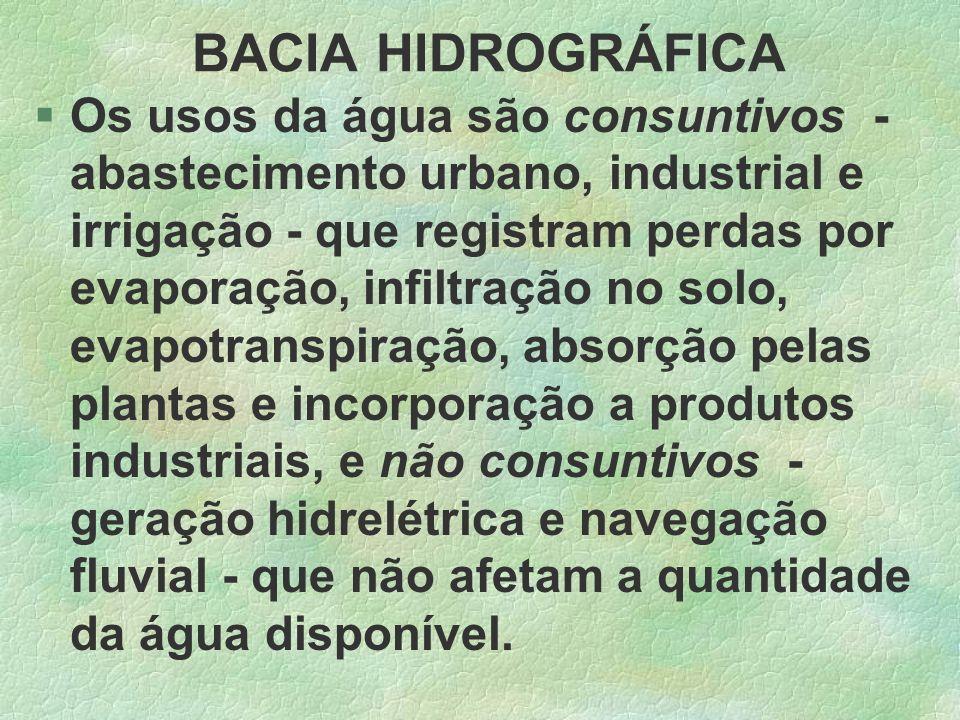 BACIA HIDROGRÁFICA §Os usos da água são consuntivos - abastecimento urbano, industrial e irrigação - que registram perdas por evaporação, infiltração