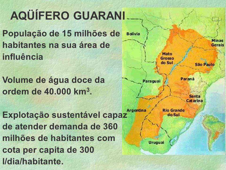 AQÜÍFERO GUARANI População de 15 milhões de habitantes na sua área de influência Volume de água doce da ordem de 40.000 km 3. Explotação sustentável c