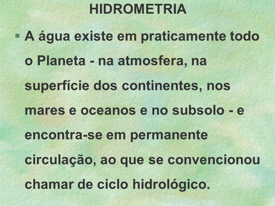HIDROMETRIA §A água existe em praticamente todo o Planeta - na atmosfera, na superfície dos continentes, nos mares e oceanos e no subsolo - e encontra