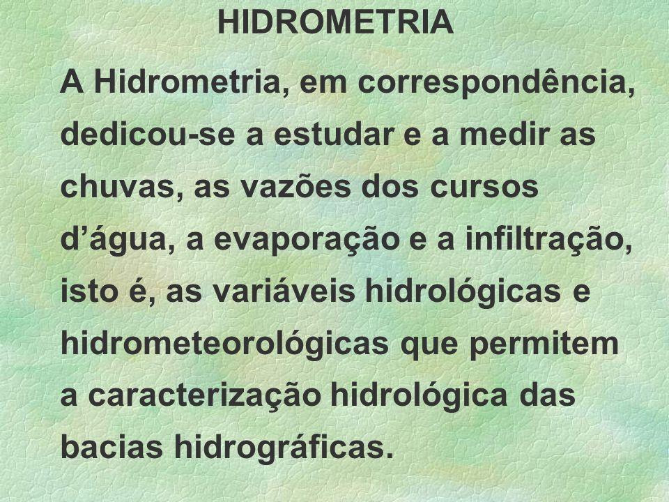 HIDROMETRIA A Hidrometria, em correspondência, dedicou-se a estudar e a medir as chuvas, as vazões dos cursos dágua, a evaporação e a infiltração, ist