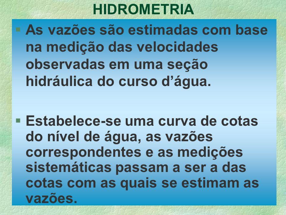 HIDROMETRIA §As vazões são estimadas com base na medição das velocidades observadas em uma seção hidráulica do curso dágua. §Estabelece-se uma curva d