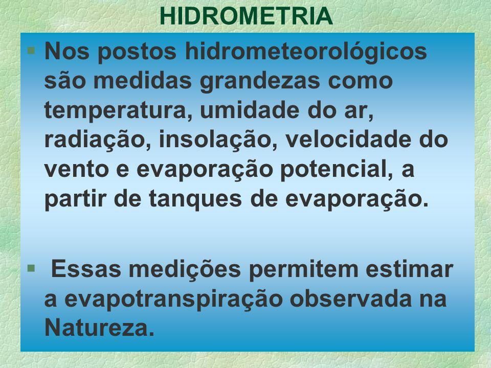 HIDROMETRIA §Nos postos hidrometeorológicos são medidas grandezas como temperatura, umidade do ar, radiação, insolação, velocidade do vento e evaporaç