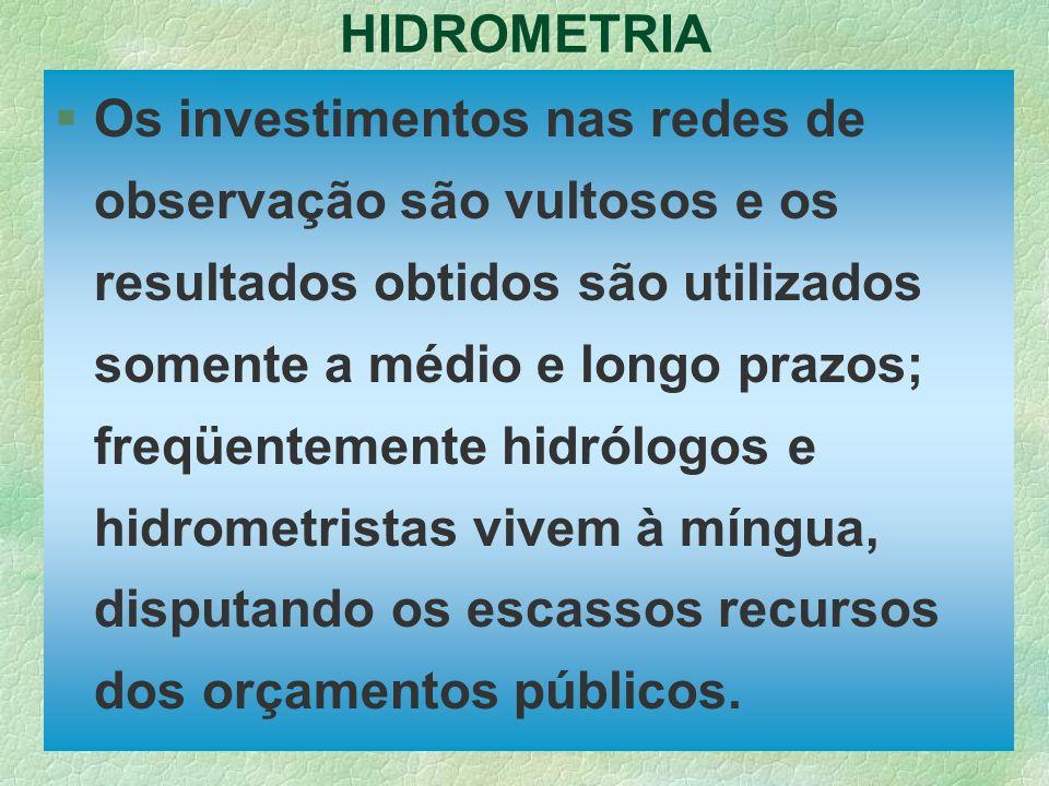 HIDROMETRIA §Os investimentos nas redes de observação são vultosos e os resultados obtidos são utilizados somente a médio e longo prazos; freqüentemen