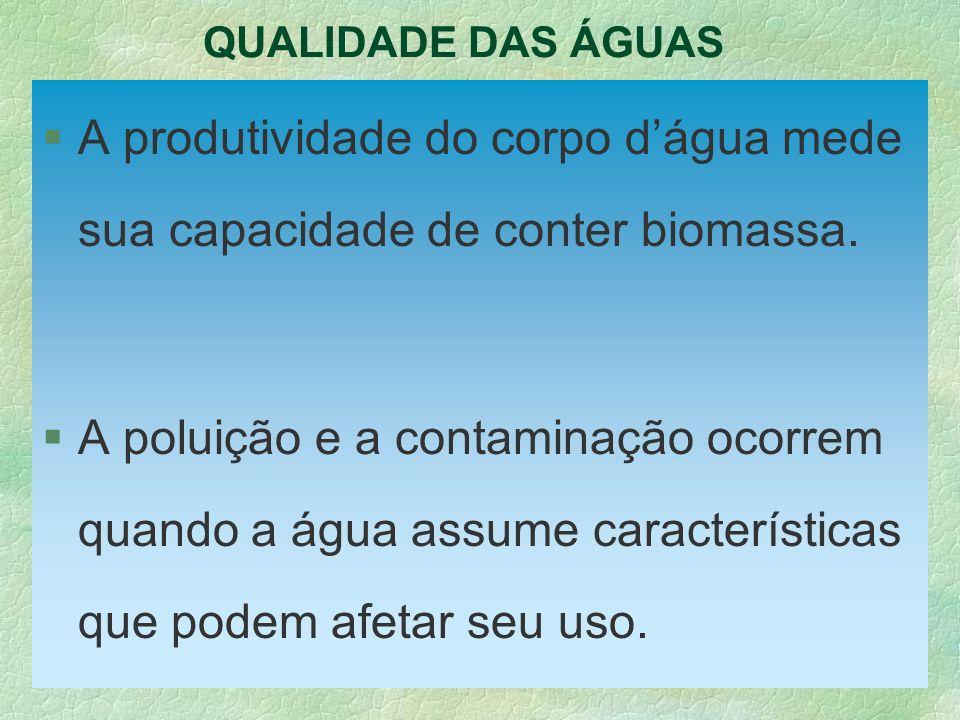 QUALIDADE DAS ÁGUAS §A produtividade do corpo dágua mede sua capacidade de conter biomassa. §A poluição e a contaminação ocorrem quando a água assume