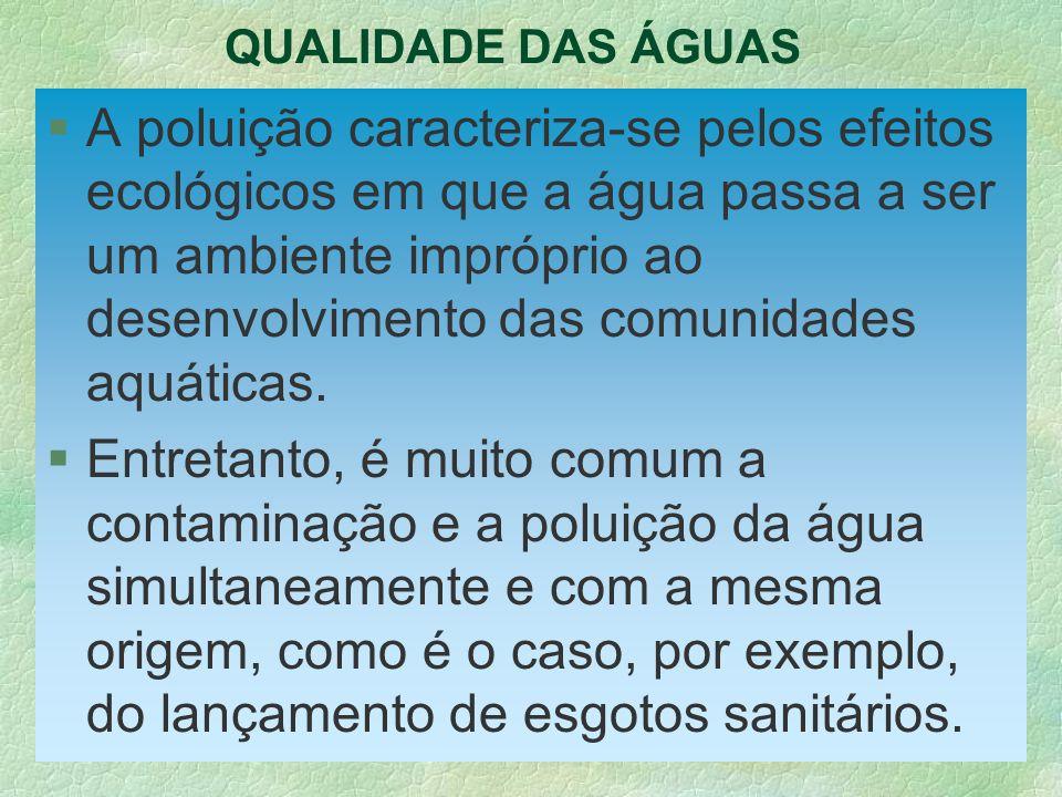 QUALIDADE DAS ÁGUAS §A poluição caracteriza-se pelos efeitos ecológicos em que a água passa a ser um ambiente impróprio ao desenvolvimento das comunid