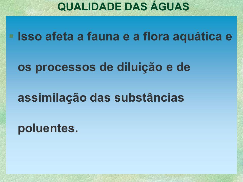 QUALIDADE DAS ÁGUAS §Isso afeta a fauna e a flora aquática e os processos de diluição e de assimilação das substâncias poluentes.