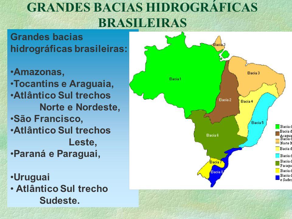 GRANDES BACIAS HIDROGRÁFICAS BRASILEIRAS Grandes bacias hidrográficas brasileiras: Amazonas, Tocantins e Araguaia, Atlântico Sul trechos Norte e Norde