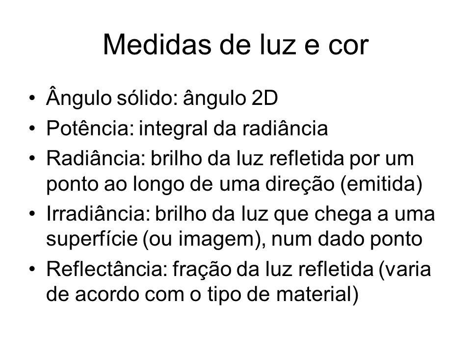 Medidas de luz e cor Ângulo sólido: ângulo 2D Potência: integral da radiância Radiância: brilho da luz refletida por um ponto ao longo de uma direção