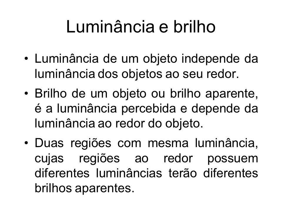 Luminância e brilho Luminância de um objeto independe da luminância dos objetos ao seu redor. Brilho de um objeto ou brilho aparente, é a luminância p