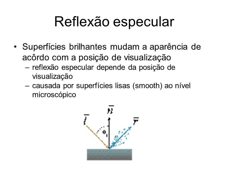 Reflexão especular Superfícies brilhantes mudam a aparência de acôrdo com a posição de visualização –reflexão especular depende da posição de visualiz