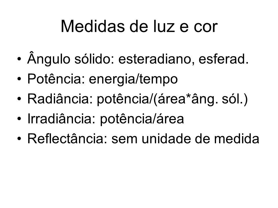 Medidas de luz e cor Ângulo sólido: esteradiano, esferad. Potência: energia/tempo Radiância: potência/(área*âng. sól.) Irradiância: potência/área Refl