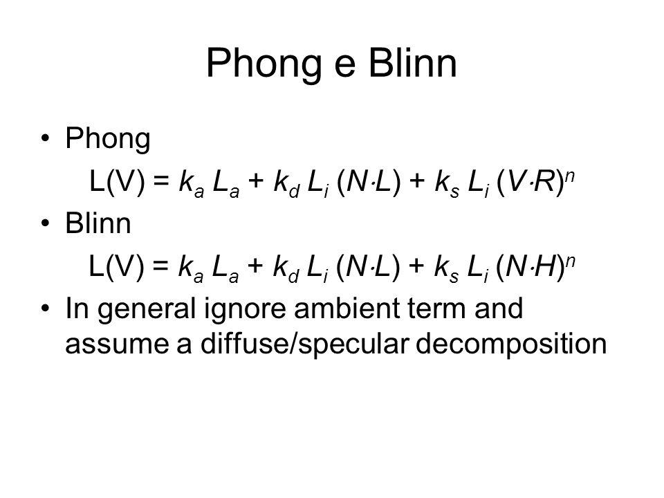 Phong e Blinn Phong L(V) = k a L a + k d L i (N L) + k s L i (V R) n Blinn L(V) = k a L a + k d L i (N L) + k s L i (N H) n In general ignore ambient