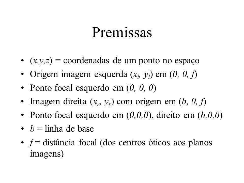 Premissas (x,y,z) = coordenadas de um ponto no espaço Origem imagem esquerda (x l, y l ) em (0, 0, f) Ponto focal esquerdo em (0, 0, 0) Imagem direita