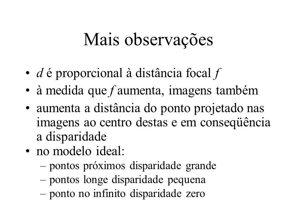 Mais observações d é proporcional à distância focal f à medida que f aumenta, imagens também aumenta a distância do ponto projetado nas imagens ao cen