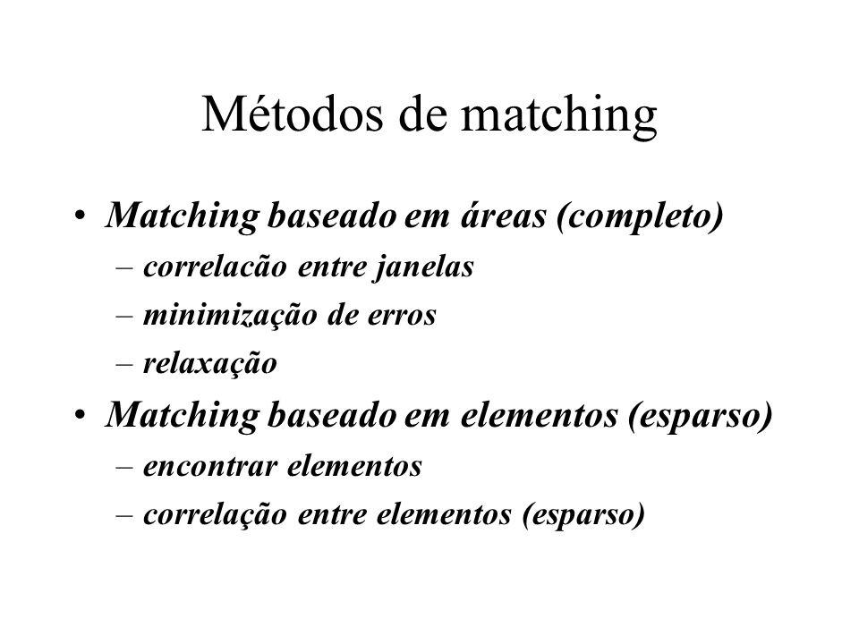 Métodos de matching Matching baseado em áreas (completo) –correlacão entre janelas –minimização de erros –relaxação Matching baseado em elementos (esp