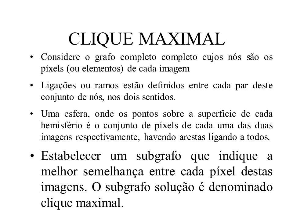 CLIQUE MAXIMAL Considere o grafo completo completo cujos nós são os píxels (ou elementos) de cada imagem Ligações ou ramos estão definidos entre cada