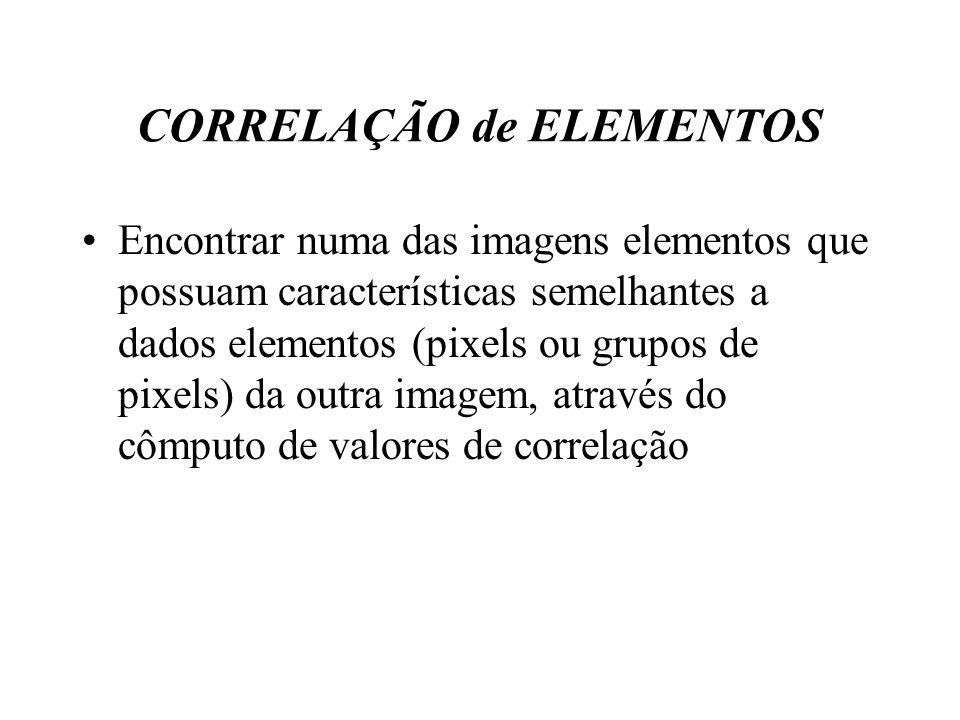 CORRELAÇÃO de ELEMENTOS Encontrar numa das imagens elementos que possuam características semelhantes a dados elementos (pixels ou grupos de pixels) da