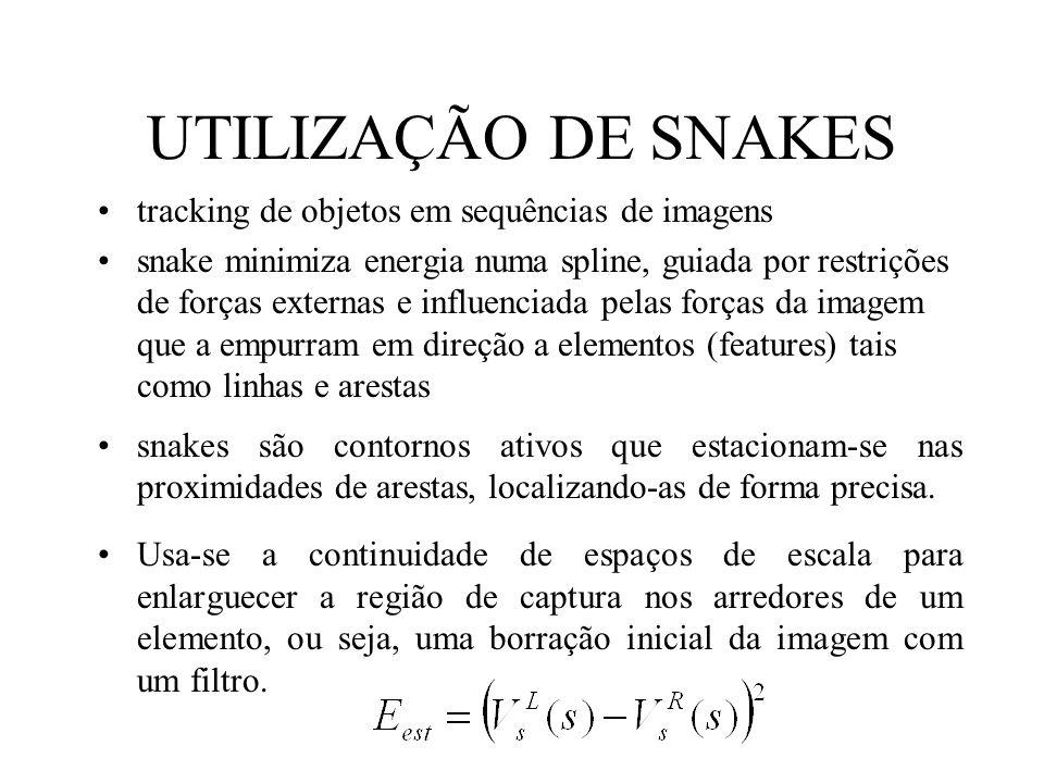 UTILIZAÇÃO DE SNAKES tracking de objetos em sequências de imagens snake minimiza energia numa spline, guiada por restrições de forças externas e influ