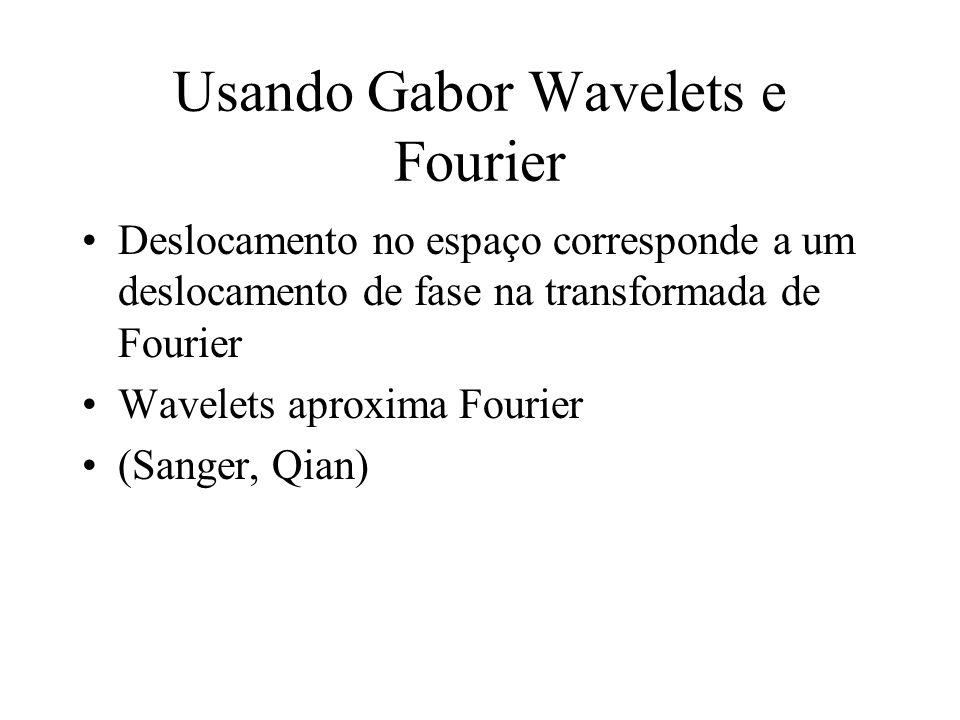 Usando Gabor Wavelets e Fourier Deslocamento no espaço corresponde a um deslocamento de fase na transformada de Fourier Wavelets aproxima Fourier (San