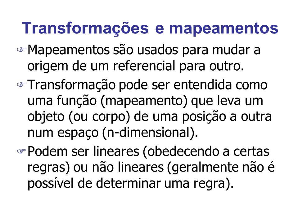Transformações e mapeamentos F Mapeamentos são usados para mudar a origem de um referencial para outro. F Transformação pode ser entendida como uma fu