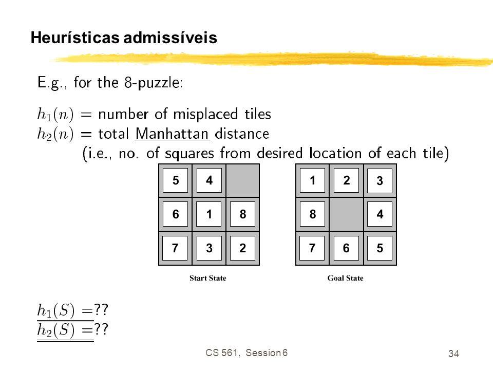 CS 561, Session 6 34 Heurísticas admissíveis