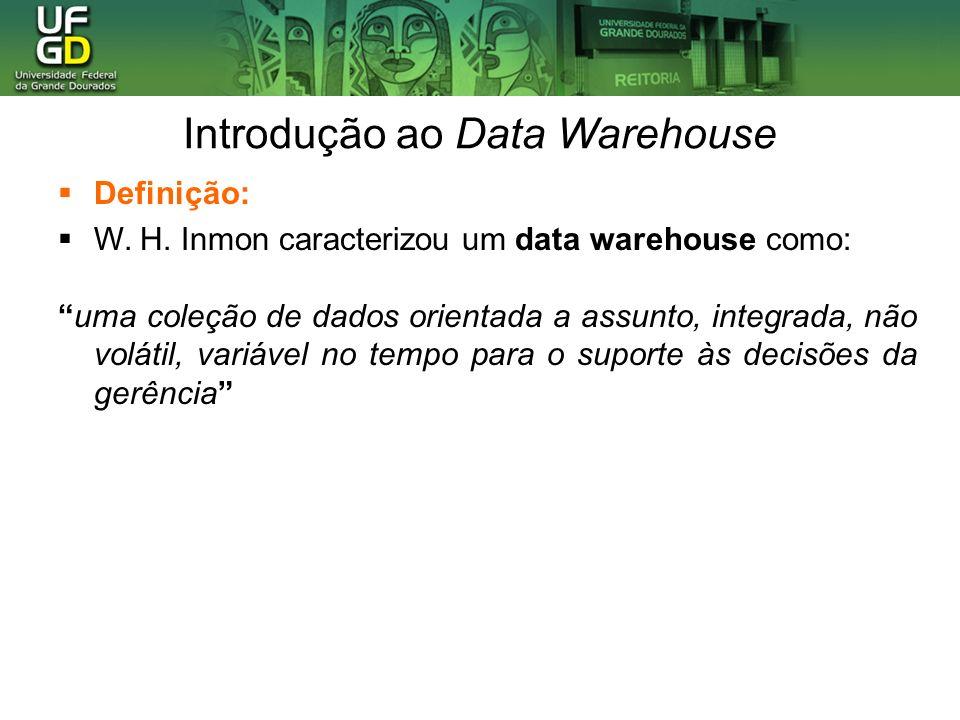 Introdução ao Data Warehouse Aplicações: Vários tipos de aplicações são aceitos: OLAP (Processamento analítico on-line): é um termo usado para descrever a análise de dados complexos do data warehouse.