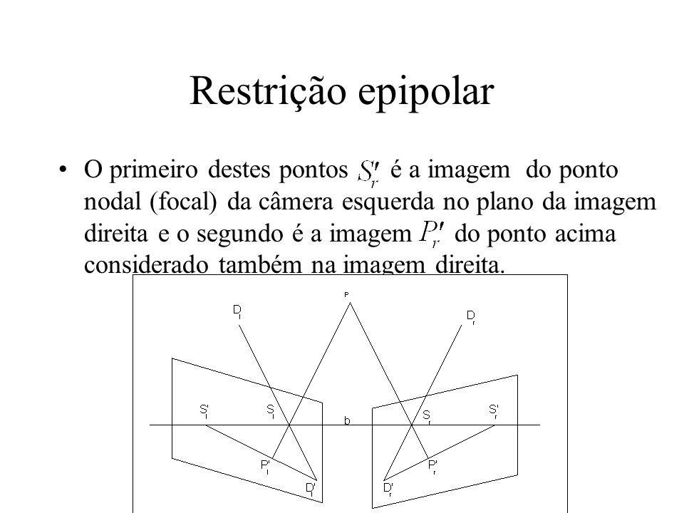 Restrição epipolar O primeiro destes pontos é a imagem do ponto nodal (focal) da câmera esquerda no plano da imagem direita e o segundo é a imagem do