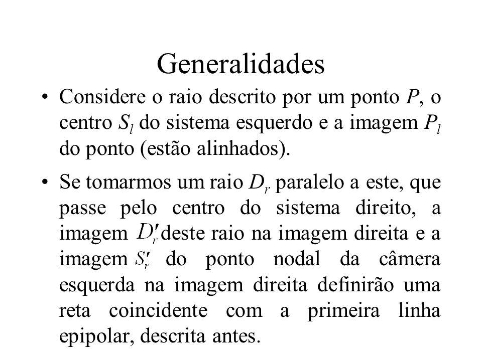 Generalidades Considere o raio descrito por um ponto P, o centro S l do sistema esquerdo e a imagem P l do ponto (estão alinhados). Se tomarmos um rai