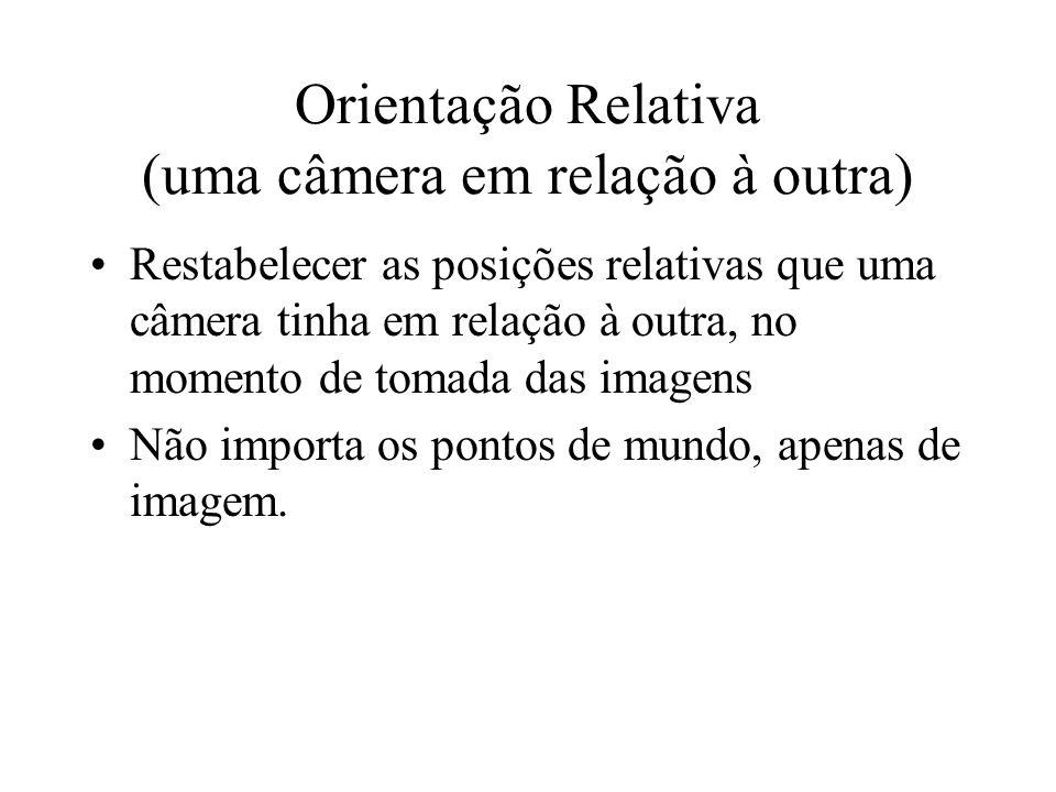 Orientação Relativa (uma câmera em relação à outra) Restabelecer as posições relativas que uma câmera tinha em relação à outra, no momento de tomada d