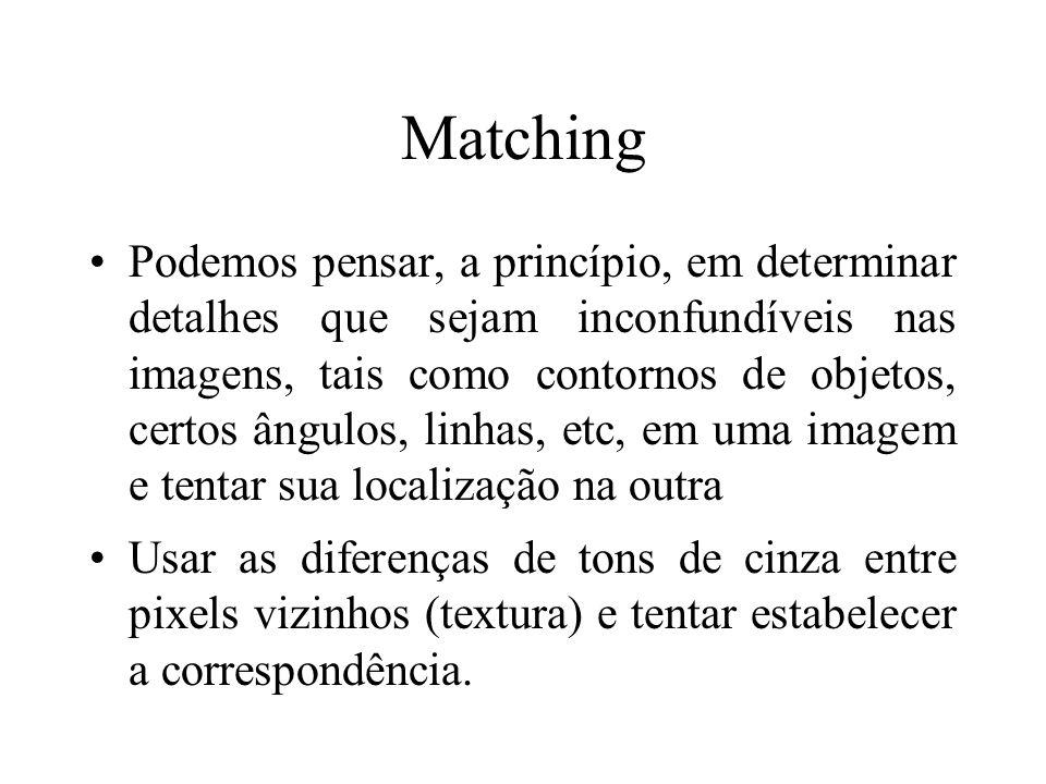 Matching Podemos pensar, a princípio, em determinar detalhes que sejam inconfundíveis nas imagens, tais como contornos de objetos, certos ângulos, lin
