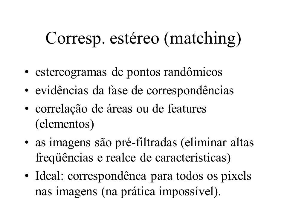 Corresp. estéreo (matching) estereogramas de pontos randômicos evidências da fase de correspondências correlação de áreas ou de features (elementos) a