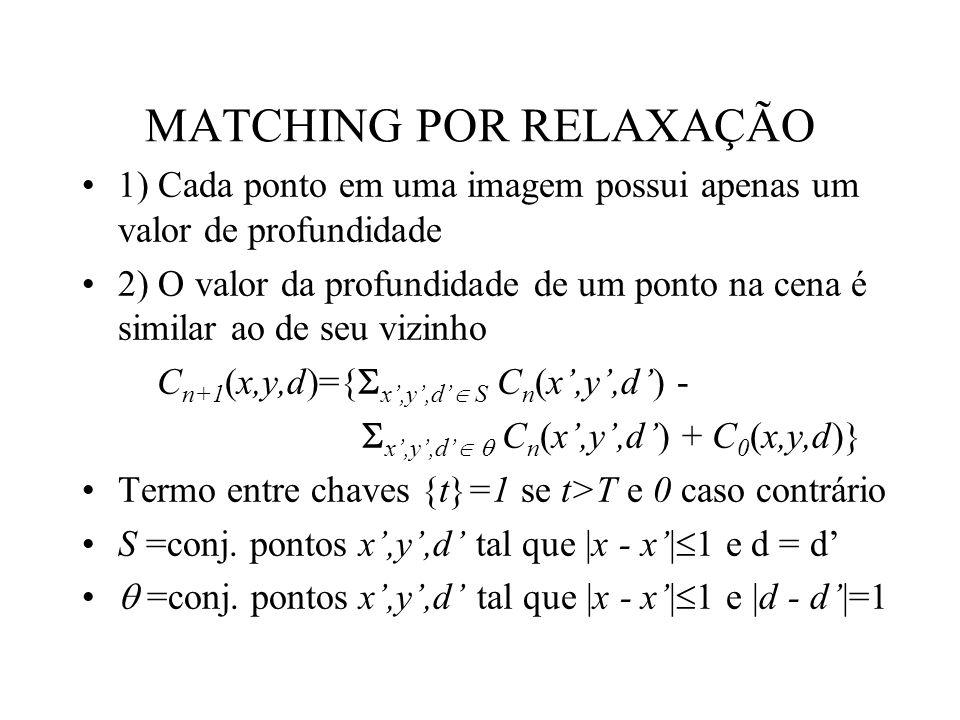 MATCHING POR RELAXAÇÃO 1) Cada ponto em uma imagem possui apenas um valor de profundidade 2) O valor da profundidade de um ponto na cena é similar ao