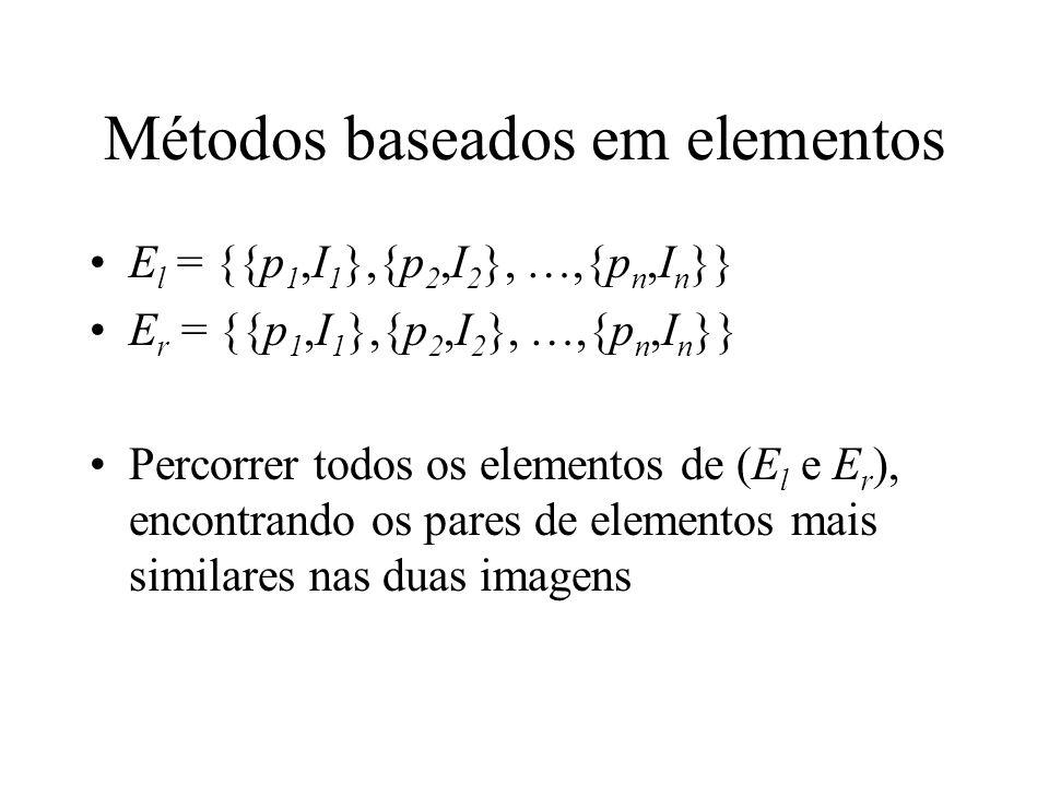 Métodos baseados em elementos E l = {{p 1,I 1 },{p 2,I 2 }, …,{p n,I n }} E r = {{p 1,I 1 },{p 2,I 2 }, …,{p n,I n }} Percorrer todos os elementos de
