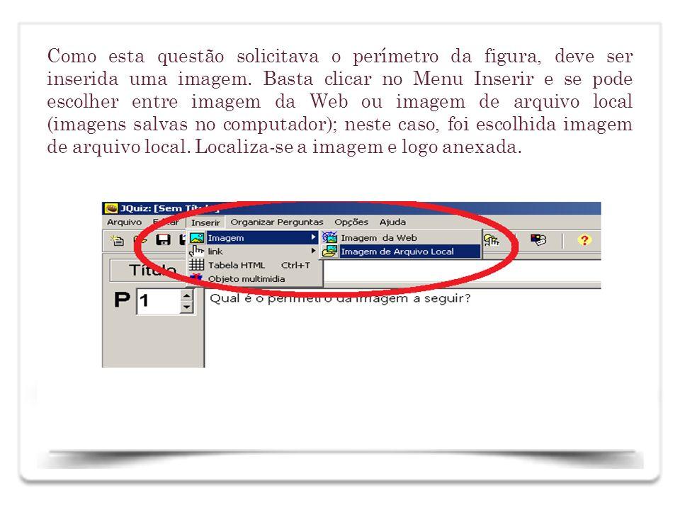 Como esta questão solicitava o perímetro da figura, deve ser inserida uma imagem. Basta clicar no Menu Inserir e se pode escolher entre imagem da Web