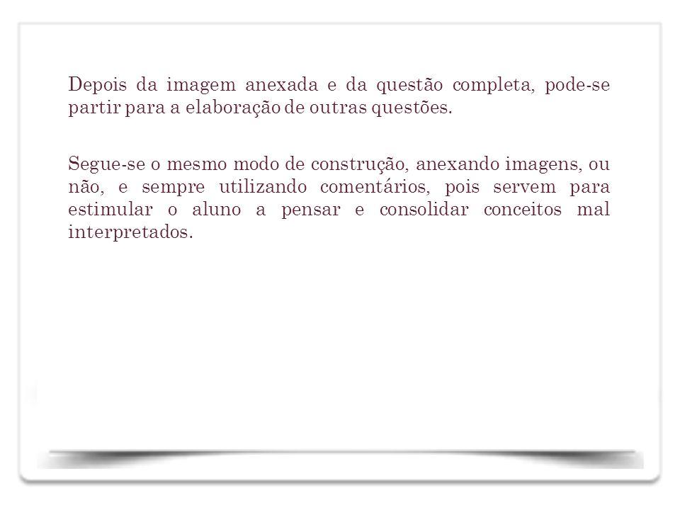 Depois da imagem anexada e da questão completa, pode-se partir para a elaboração de outras questões. Segue-se o mesmo modo de construção, anexando ima