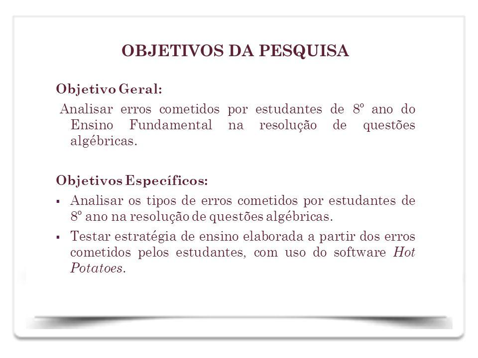OBJETIVOS DA PESQUISA Objetivo Geral: Analisar erros cometidos por estudantes de 8º ano do Ensino Fundamental na resolução de questões algébricas. Obj
