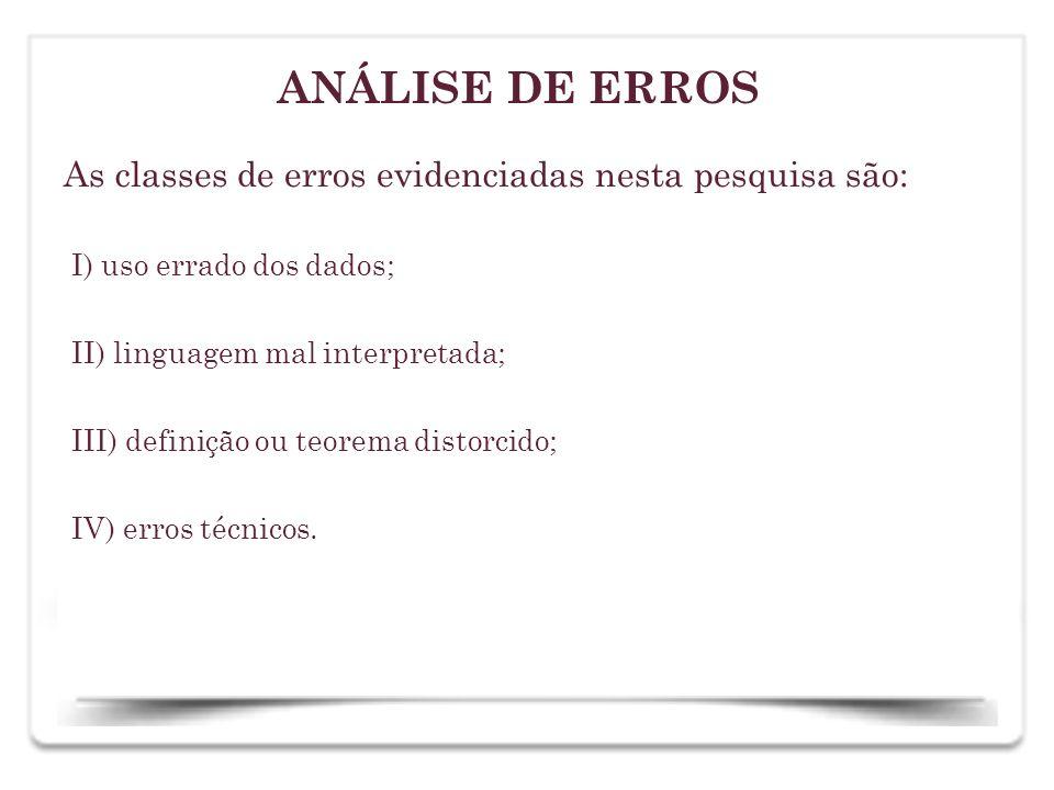 As classes de erros evidenciadas nesta pesquisa são: I) uso errado dos dados; II) linguagem mal interpretada; III) definição ou teorema distorcido; IV
