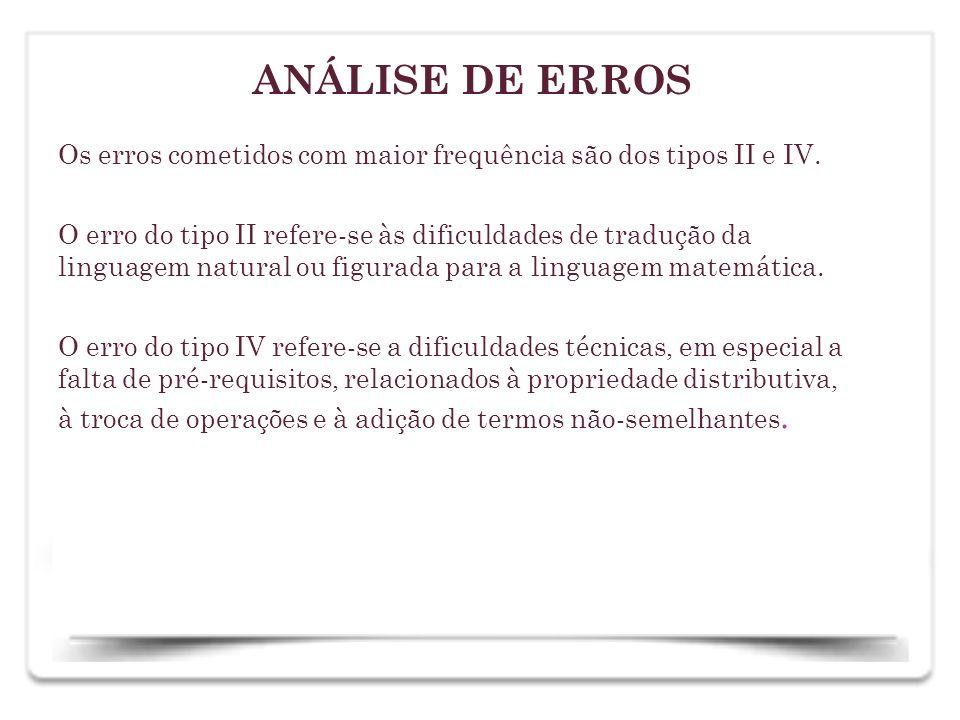 Os erros cometidos com maior frequência são dos tipos II e IV. O erro do tipo II refere-se às dificuldades de tradução da linguagem natural ou figurad