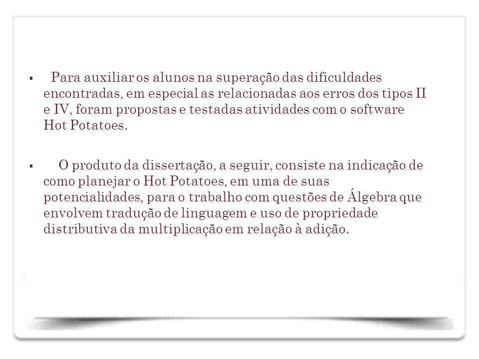 Interface do software : na tela inicial, como se pode verificar, há cinco batatas; clicando em cada uma, podem ser realizados exercícios de diferentes características.