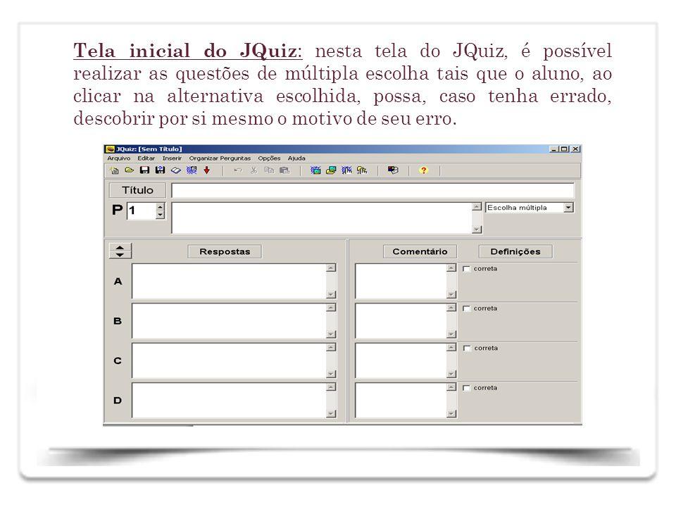 Na tela do JQuiz, escreve-se o título das atividades, a pergunta a ser respondida e as possíveis respostas, nas alternativas a, b, c e d, clicando na resposta correta, como se pode observar a seguir.