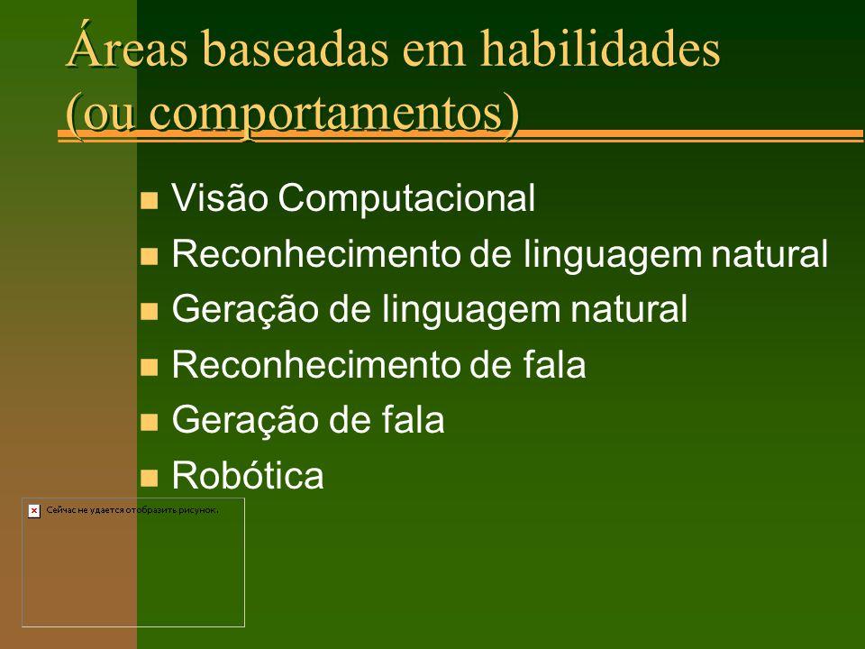 Áreas baseadas em habilidades (ou comportamentos) n Visão Computacional n Reconhecimento de linguagem natural n Geração de linguagem natural n Reconhecimento de fala n Geração de fala n Robótica