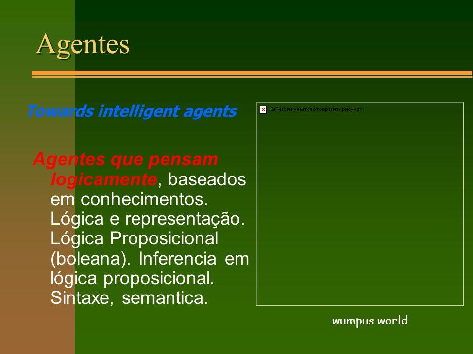 Agentes Agentes que pensam logicamente, baseados em conhecimentos.