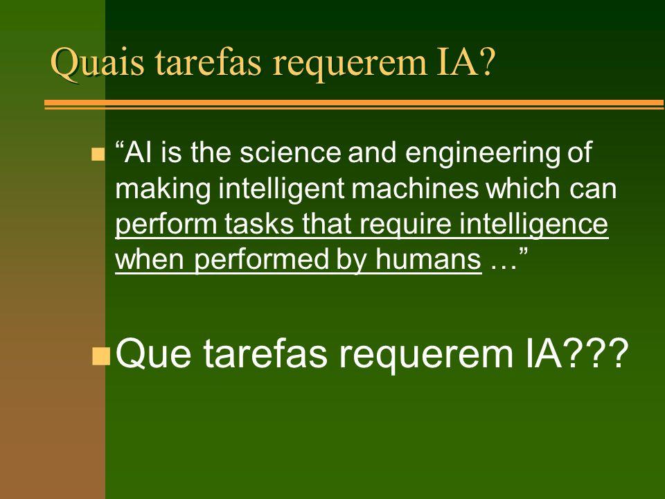 Quais tarefas requerem IA.