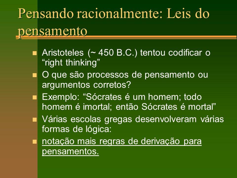 Pensando racionalmente: Leis do pensamento n Aristoteles (~ 450 B.C.) tentou codificar o right thinking n O que são processos de pensamento ou argumentos corretos.