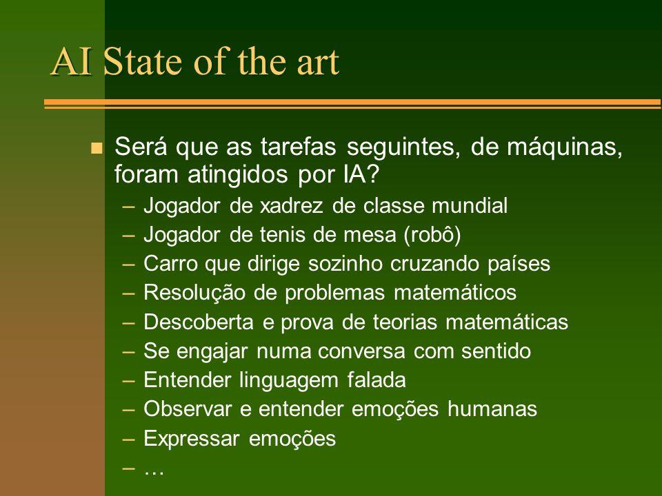 AI State of the art n Será que as tarefas seguintes, de máquinas, foram atingidos por IA.