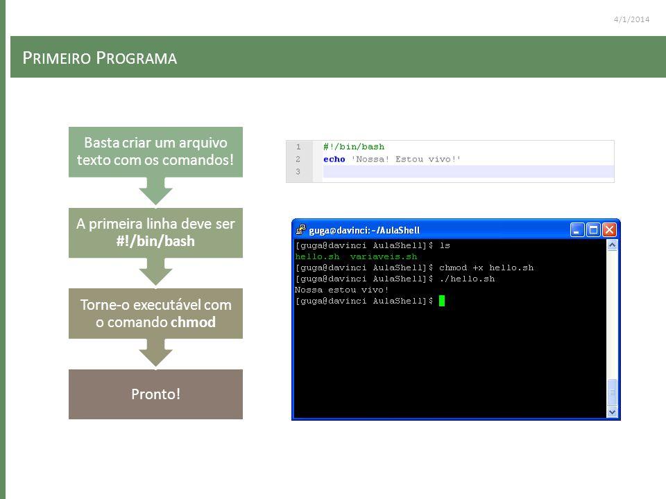P RIMEIRO P ROGRAMA Pronto! Torne-o executável com o comando chmod A primeira linha deve ser #!/bin/bash Basta criar um arquivo texto com os comandos!