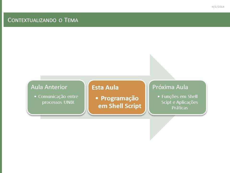 4/1/2014 C ONTEXTUALIZANDO O T EMA Aula Anterior Comunicação entre processos UNIX Esta Aula Programação em Shell Script Próxima Aula Funções em Shell Scipt e Aplicações Práticas
